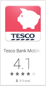 Tesco bank app has a 4.1 rating on the Google Play Store.