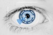 Security Iris Scanner on Blue Human Eye